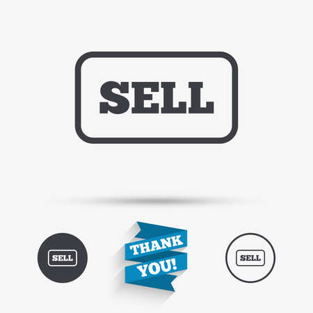 earnings: Sell sign icon. Contributor earnings button. Flat icons. Buttons with icons. Thank you ribbon. Vector Illustration