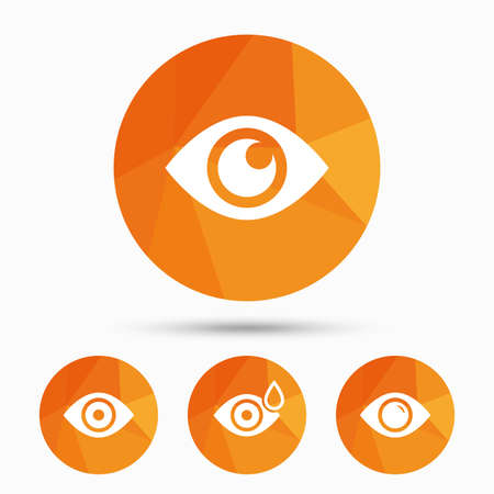 triangular eyes: Eye icons. Water drops in the eye symbols. Red eye effect signs. Triangular low poly buttons with shadow. Vector Illustration