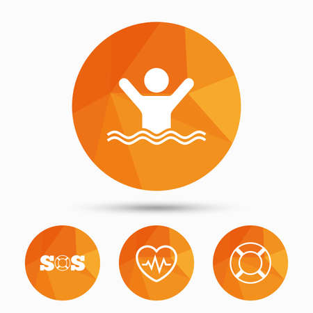 drowns: SOS lifebuoy icon. Heartbeat cardiogram symbol. Swimming sign. Man drowns. Triangular low poly buttons with shadow. Vector