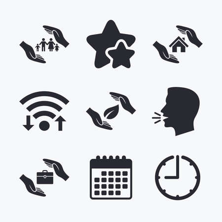 head protection: Hands insurance icons. Human life insurance symbols. Nature leaf protection symbol. House property insurance sign. Wifi internet, favorite stars, calendar and clock. Talking head. Vector