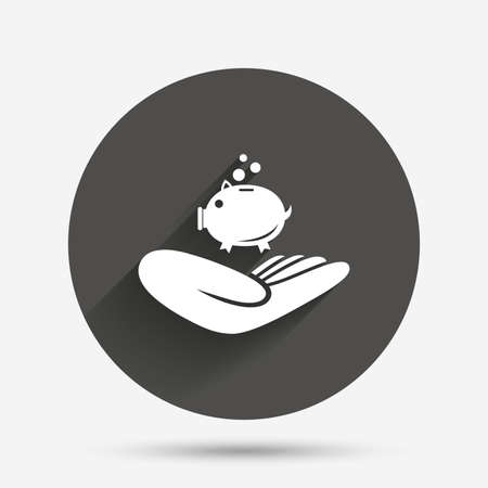endowment: Donation hand sign icon. Hand holds Piggy bank. Charity or endowment symbol. Human helping hand palm. Circle flat button with shadow. Vector Illustration