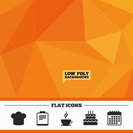 orange cake: Triangular low poly orange background. Coffee cup icon. Chef hat symbol. Birthday cake signs. Document file. Calendar flat icon. Vector