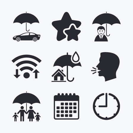 head protection: Family, Real estate or Home insurance icons. Life insurance and umbrella symbols. Car protection sign. Wifi internet, favorite stars, calendar and clock. Talking head. Vector