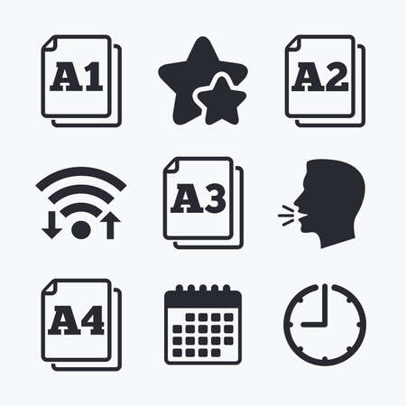 a2: Paper size standard icons. Document symbols. A1, A2, A3 and A4 page signs. Wifi internet, favorite stars, calendar and clock. Talking head. Vector Illustration