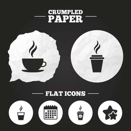 takeout: Crumpled paper speech bubble. Coffee cup icon. Hot drinks glasses symbols. Take away or take-out tea beverage signs. Paper button. Vector Illustration