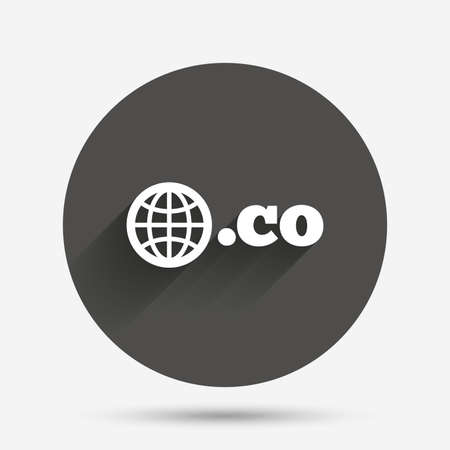 co: Domain CO sign icon. Top-level internet domain symbol with globe. Circle flat button with shadow. Vector