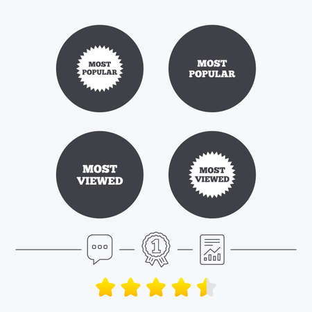 viewed: Most popular star icon. Most viewed symbols. Clients or customers choice signs. Chat, award medal and report linear icons. Star vote ranking. Vector Illustration