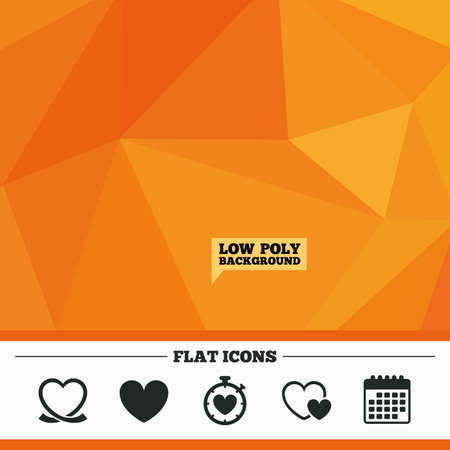 palpitation: Triangular low poly orange background. Heart ribbon icon. Timer stopwatch symbol. Love and Heartbeat palpitation signs. Calendar flat icon. Vector