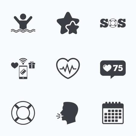 drowns: SOS lifebuoy icon. Heartbeat cardiogram symbol. Swimming sign. Man drowns. Flat talking head, calendar icons. Stars, like counter icons. Vector Illustration
