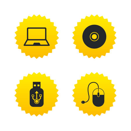 Notebook pc and Usb flash drive stick icons. Computer mouse and CD or DVD sign symbols. Yellow stars labels with flat icons. Vector Illustration