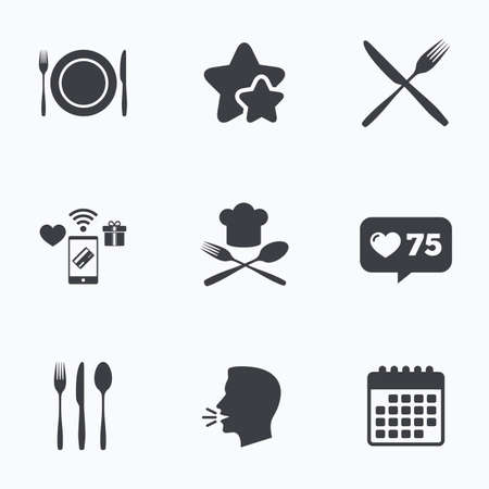 etiquette: Plate dish with forks and knifes icons. Chief hat sign. Crosswise cutlery symbol. Dining etiquette. Flat talking head, calendar icons. Stars, like counter icons. Vector