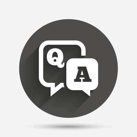qa: Question answer sign icon. Q&A symbol. Circle flat button with shadow. Vector Illustration