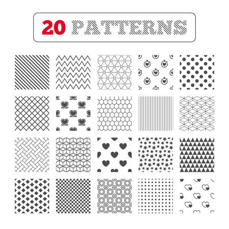 palpitation: Ornament patterns, diagonal stripes and stars. Heart ribbon icon. Timer stopwatch symbol. Love and Heartbeat palpitation signs. Geometric textures. Vector