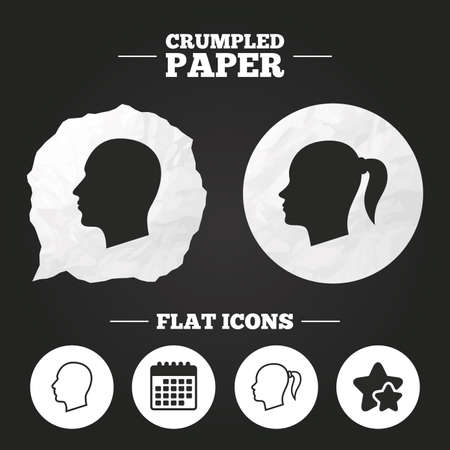 pigtail: Crumpled paper speech bubble. Head icons. Male and female human symbols. Woman with pigtail signs. Paper button. Vector Illustration