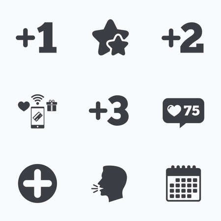 favorite number: Plus icons. Positive symbol. Add one, two, three and four more sign. Flat talking head, calendar icons. Stars, like counter icons. Vector