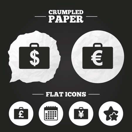 paper case: Crumpled paper speech bubble. Businessman case icons. Cash money diplomat signs. Dollar, euro and pound symbols. Paper button. Vector Illustration