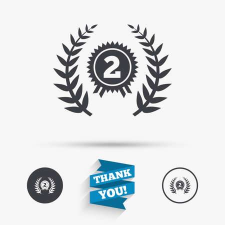 second prize: Second place award sign icon. Prize for winner symbol. Laurel Wreath. Flat icons. Buttons with icons. Thank you ribbon. Vector