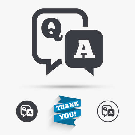 qa: Question answer sign icon. Q&A symbol. Flat icons. Buttons with icons. Thank you ribbon. Vector Illustration