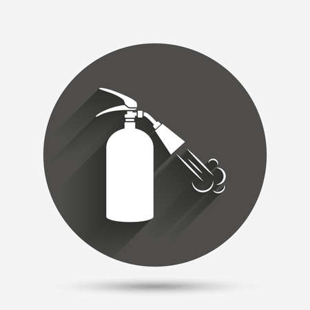 safety circle: Fire extinguisher sign icon. Fire safety symbol. Circle flat button with shadow. Vector Illustration