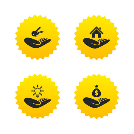 patent key: Helping hands icons. Financial money savings insurance symbol. Home house or real estate and lamp, key signs. Yellow stars labels with flat icons. Vector