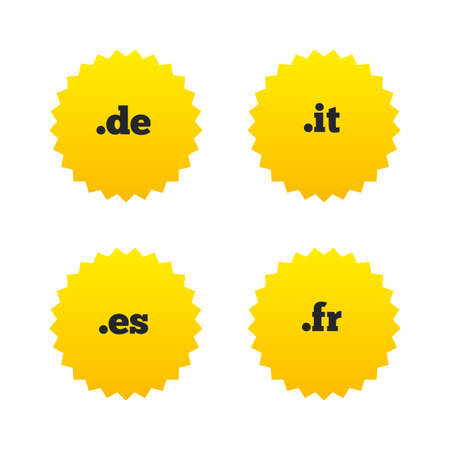 Top-level internet domain icons. De, It, Es and Fr symbols. Unique national DNS names. Yellow stars labels with flat icons. Vector