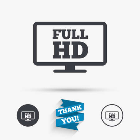 full hd: Full hd widescreen tv sign icon. High-definition symbol. Flat icons. Buttons with icons. Thank you ribbon. Vector