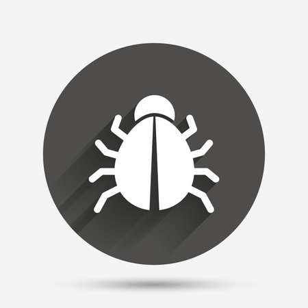 disinfection: Bug sign icon. Virus symbol. Software bug error. Disinfection. Circle flat button with shadow. Vector