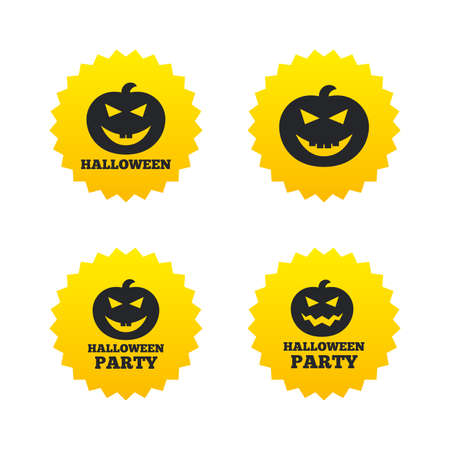 hallows: Halloween pumpkin icons. Halloween party sign symbol. All Hallows Day celebration. Yellow stars labels with flat icons. Vector