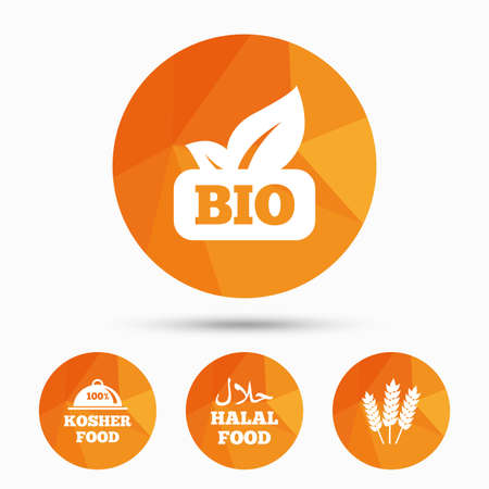 kosher: Natural Bio food icons. Halal and 100% Kosher signs. Gluten free agricultural symbol. Triangular low poly buttons with shadow. Vector Illustration