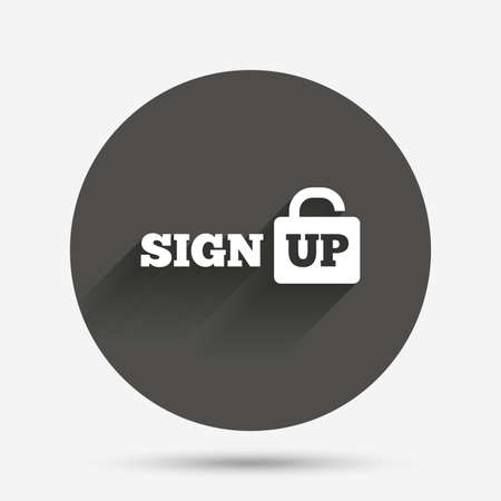 lock up: Sign up sign icon. Registration symbol. Lock icon. Circle flat button with shadow. Vector