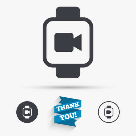 watch video: Smart watch sign icon. Wrist digital watch. Video camera symbol. Flat icons. Buttons with icons. Thank you ribbon. Vector