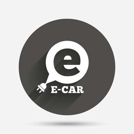 electric vehicle: Electric car sign icon. Electric vehicle transport symbol. Speech bubble. Circle flat button with shadow. Vector