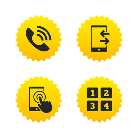 Phone icons. Touch screen smartphone sign. Call center support symbol. Cellphone keyboard symbol. Incoming and outcoming calls. Yellow stars labels with flat icons. Vector