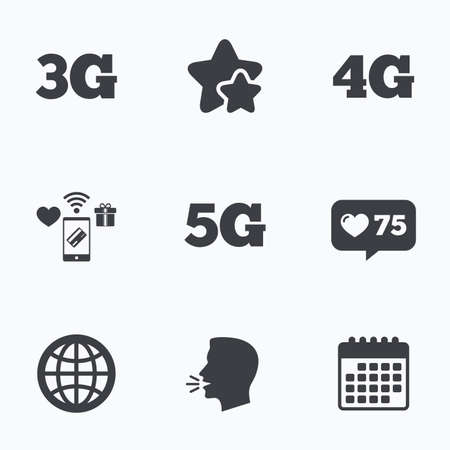 Mobile telecommunications icons. 3G, 4G and 5G technology symbols. World globe sign. Flat talking head, calendar icons. Stars, like counter icons. Vector