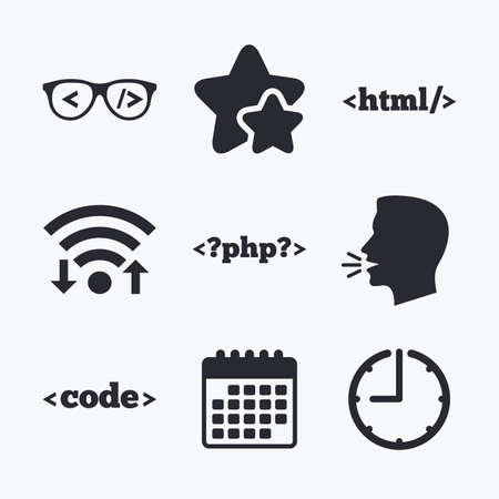 markup: Programmer coder glasses icon. HTML markup language and PHP programming language sign symbols. Wifi internet, favorite stars, calendar and clock. Talking head. Vector Illustration