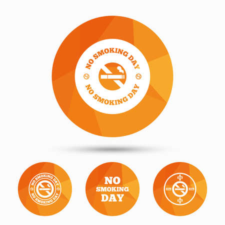 quit: No smoking day icons. Against cigarettes signs. Quit or stop smoking symbols. Triangular low poly buttons with shadow. Vector