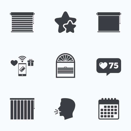roll curtains: Louvers icons. Plisse, rolls, vertical and horizontal. Window blinds or jalousie symbols. Flat talking head, calendar icons. Stars, like counter icons. Vector