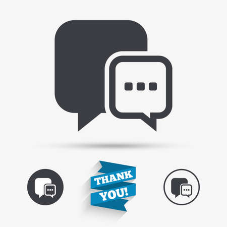 three dots: Chat sign icon. Speech bubble with three dots symbol. Communication chat bubble. Flat icons. Buttons with icons. Thank you ribbon. Vector