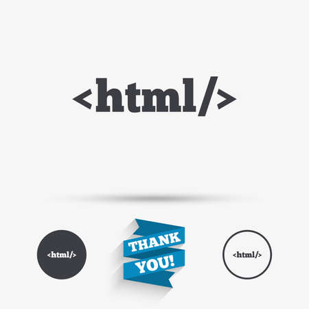 markup: HTML sign icon. Markup language symbol. Flat icons. Buttons with icons. Thank you ribbon. Vector Illustration