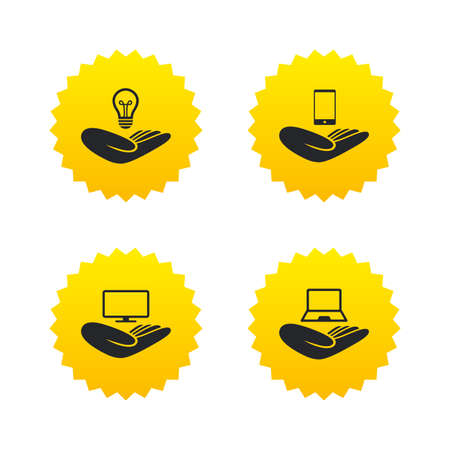 tv monitor: Helping hands icons. Intellectual property insurance symbol. Smartphone, TV monitor and pc notebook sign. Device protection. Yellow stars labels with flat icons. Vector Illustration