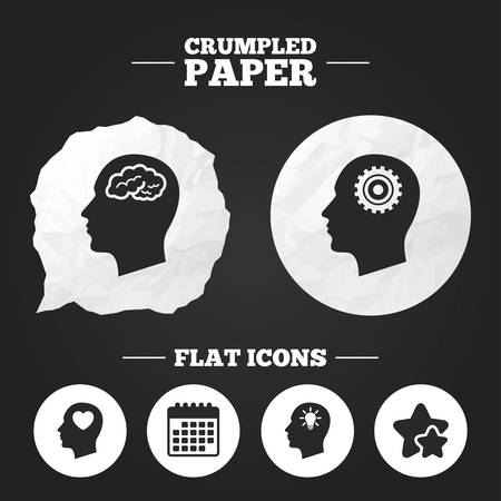 head paper: Crumpled paper speech bubble. Head with brain and idea lamp bulb icons. Male human think symbols. Cogwheel gears signs. Love heart. Paper button. Vector