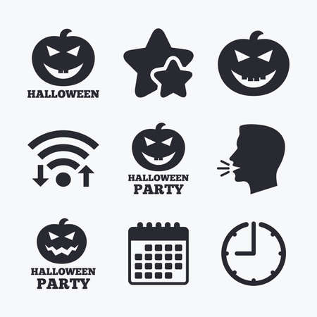 hallows: Halloween pumpkin icons. Halloween party sign symbol. All Hallows Day celebration. Wifi internet, favorite stars, calendar and clock. Talking head. Vector