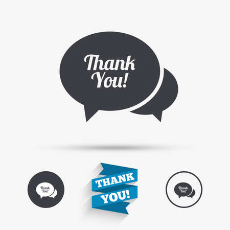 thanks a lot: Speech bubble thank you sign icon. Customer service symbol. Flat icons. Buttons with icons. Thank you ribbon. Vector