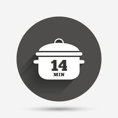 boil: Boil 14 minutes. Cooking pan sign icon. Stew food symbol. Circle flat button with shadow. Vector