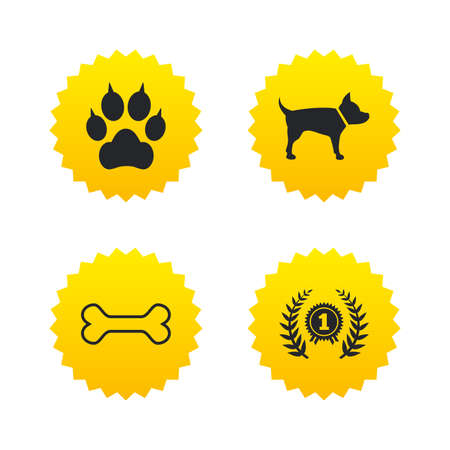 Pets icons. Cat paw with clutches sign. Winner laurel wreath and medal symbol. Pets food. Yellow stars labels with flat icons. Vector