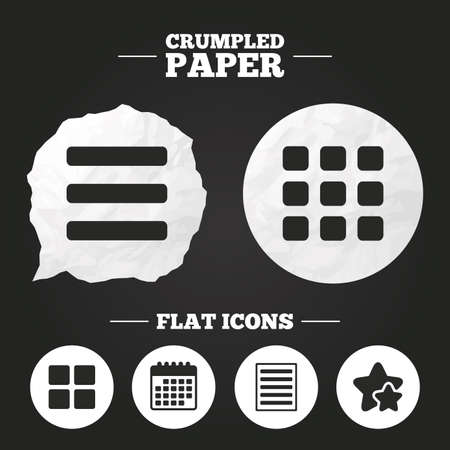 grid paper: Crumpled paper speech bubble. List menu icons. Content view options symbols. Thumbnails grid or Gallery view. Paper button. Vector