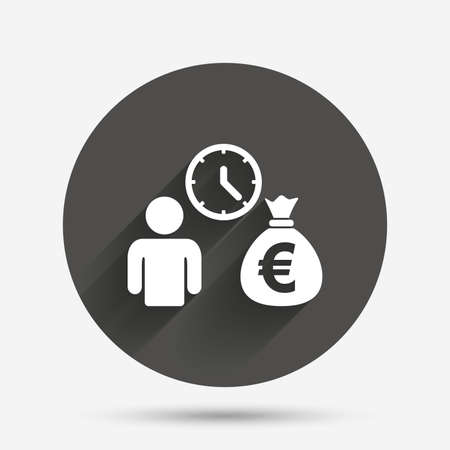 loans: Bank loans sign icon. Get money fast symbol. Borrow money. Circle flat button with shadow. Vector