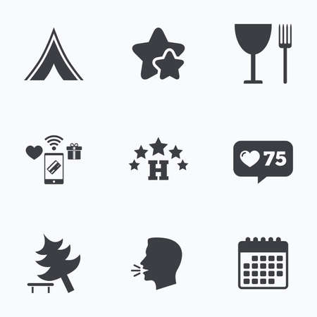 fork in road: Food, hotel, camping tent and tree icons. Wineglass and fork. Break down tree. Road signs. Flat talking head, calendar icons. Stars, like counter icons. Vector