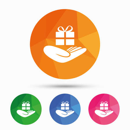 give a gift: Give a gift sign icon. Hand holds present box with bow. Triangular low poly button with flat icon. Vector