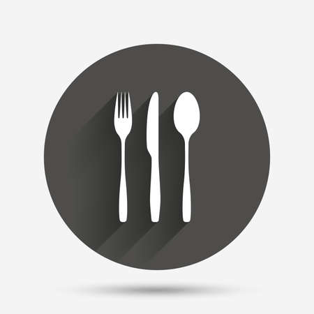 tablespoon: Fork, knife, tablespoon sign icon. Cutlery collection set symbol. Circle flat button with shadow. Vector